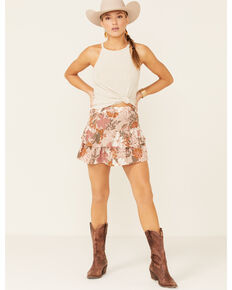 Shyanne Women's Tan Floral Tiered Mini Skirt, Tan, hi-res