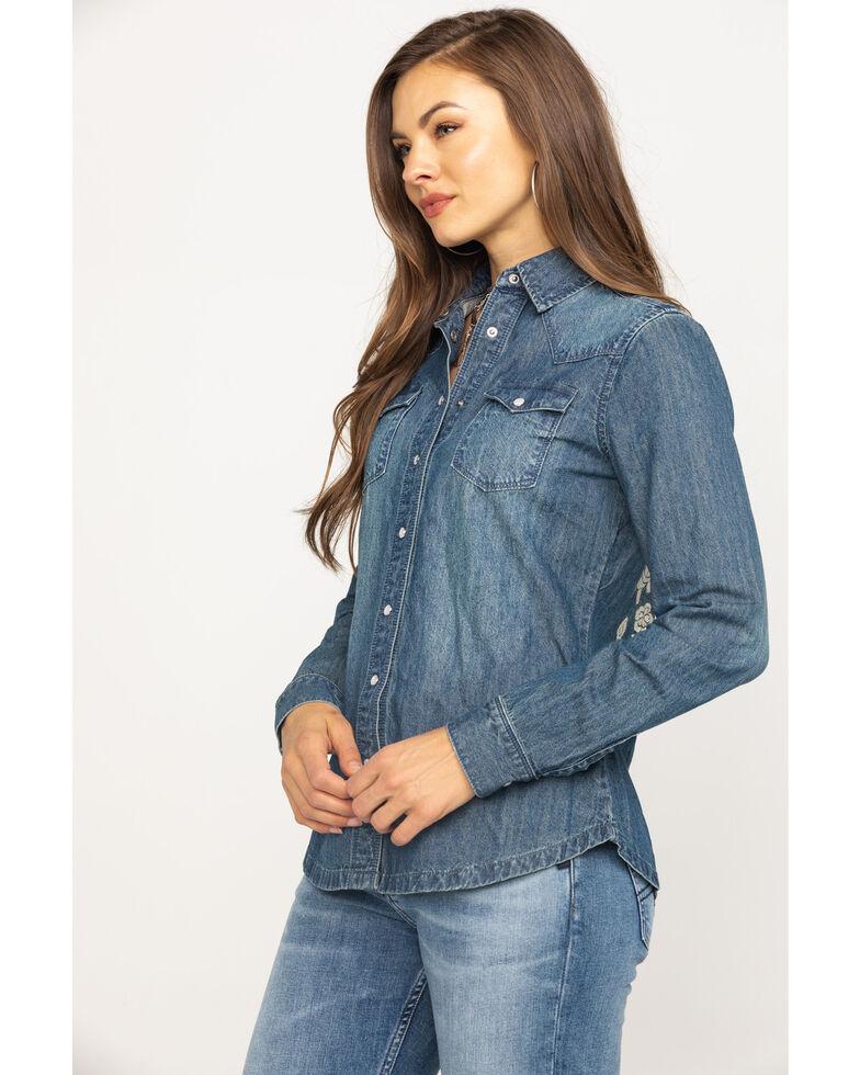 Stetson Women's Floral Embroidered Denim Long Sleeve Western Shirt, Blue, hi-res