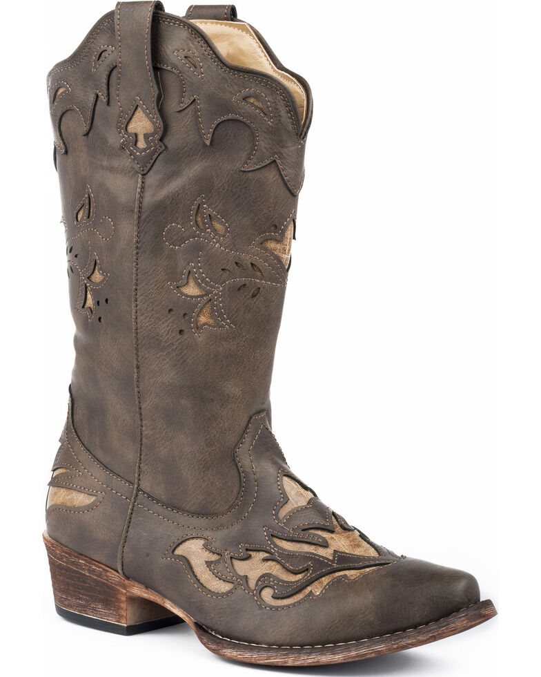 Roper Women's Spade Tan Underlay Cowgirl Boots - Snip Toe, Brown, hi-res