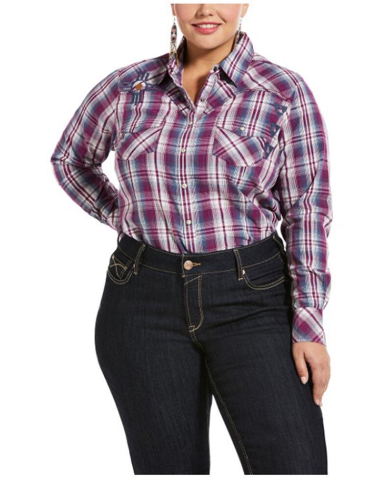 Ariat Women's Imperial Violet Stripe Incredible Long Sleeve Shirt - Plus, Violet, hi-res