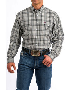 45828bd7ee4f Cinch Men s Grey Plaid Button Long Sleeve Western Shirt
