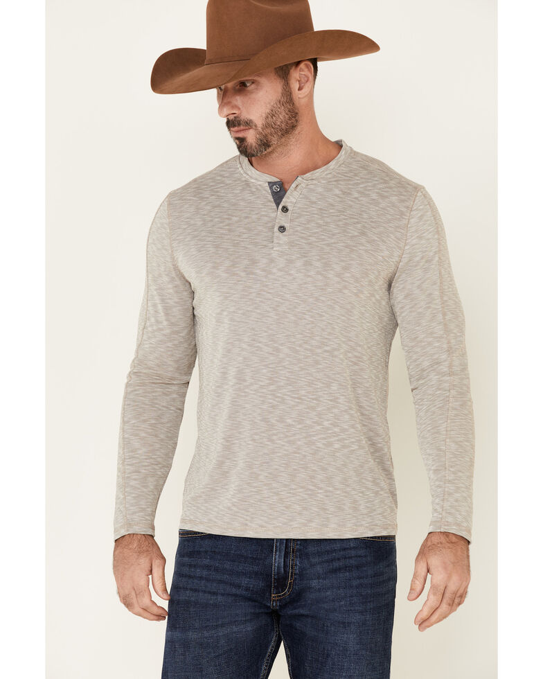 Flag & Anthem Men's Oatmeal Made Flex Momentum Slub Henley Long Sleeve Shirt , Oatmeal, hi-res