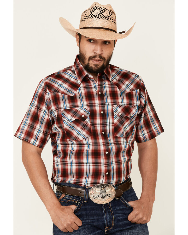 Ely Walker Men's Assorted Large Plaid Short Sleeve Snap Western Shirt - Big & Tall, Red, hi-res