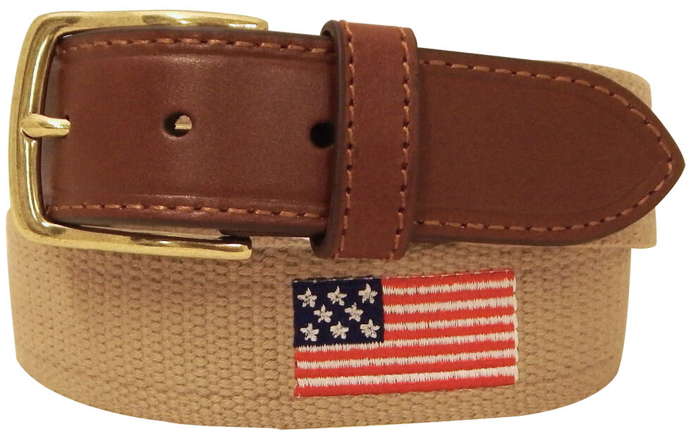 Danbury Men's Khaki American Flag Leather Belt, Khaki, hi-res