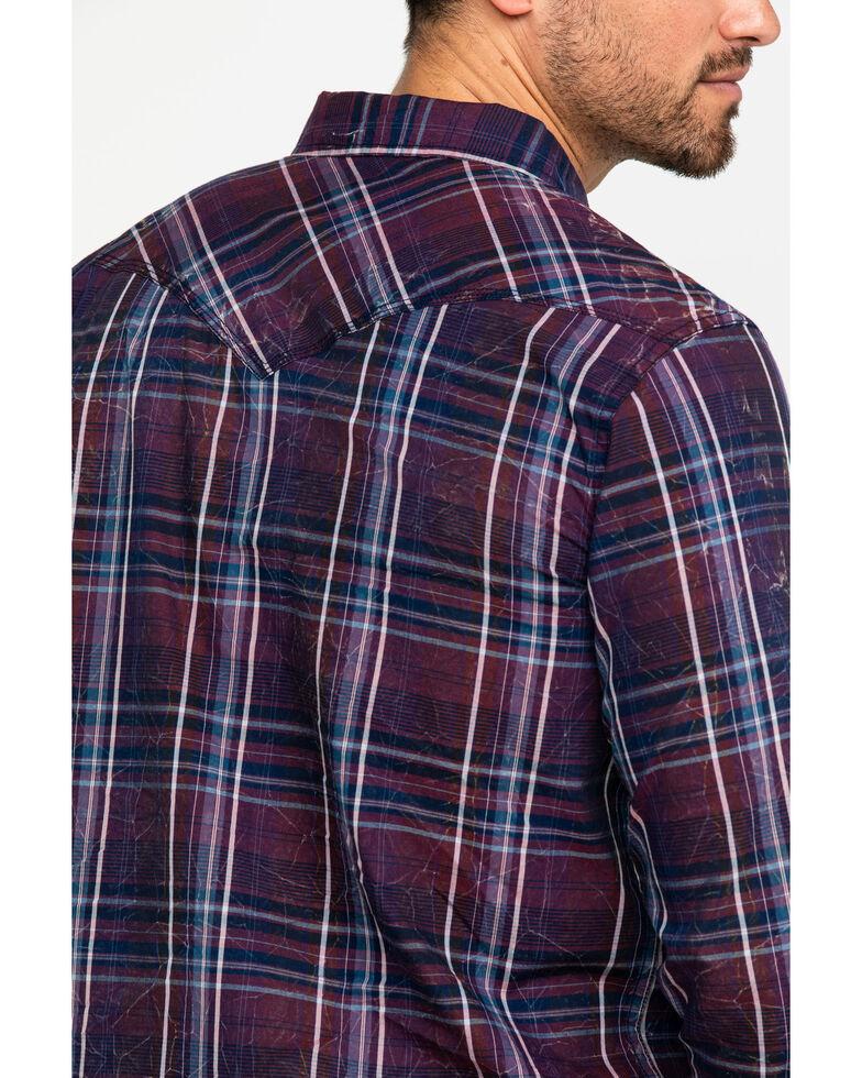 Moonshine Spirit Men's Thunder Storm Crackle Plaid Long Sleeve Western Shirt , Navy, hi-res