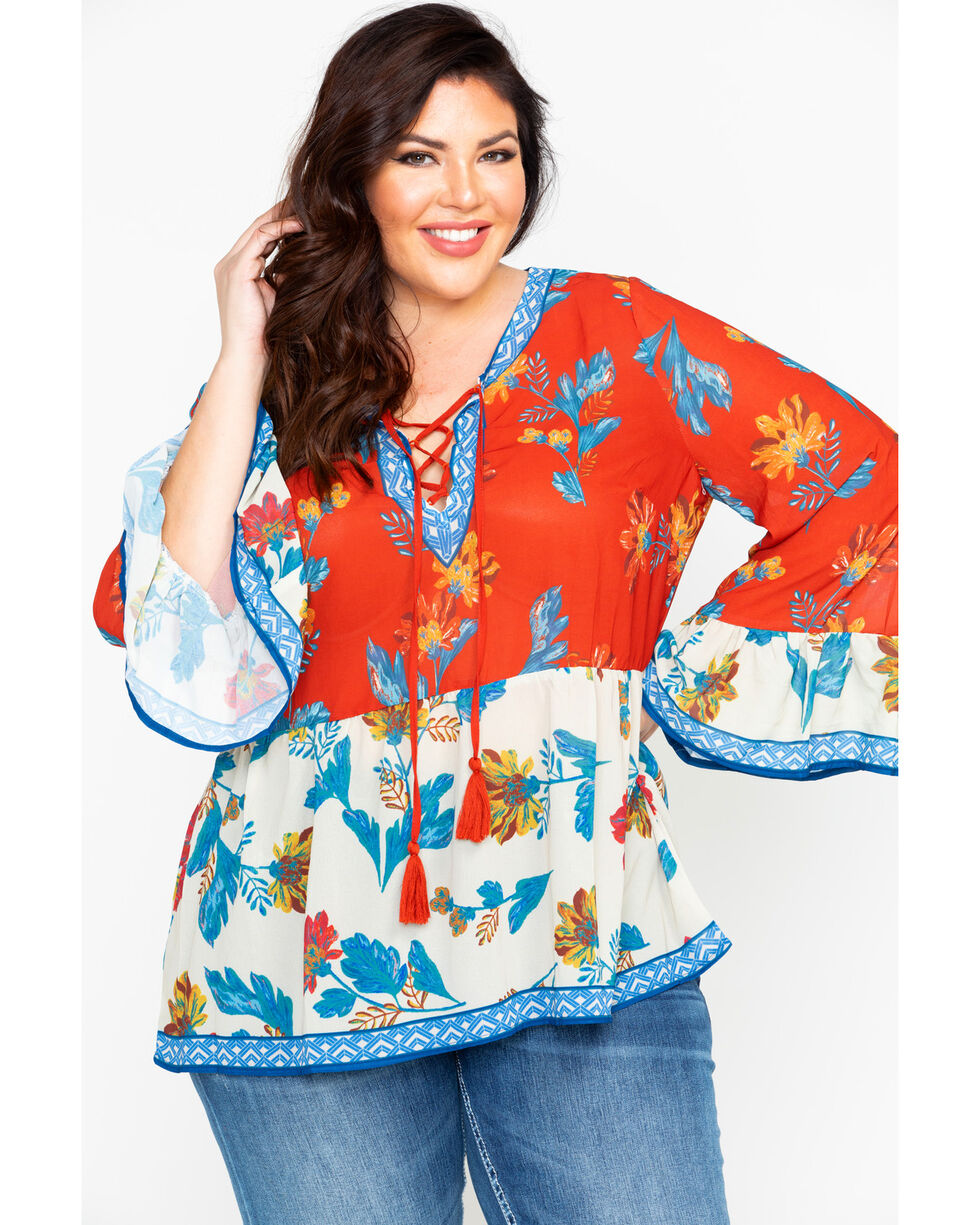 Flying Tomato Women's Mixed Floral Print String Tie Peasant Top - Plus , Rust Copper, hi-res