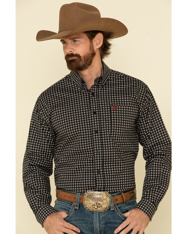 Cinch Men's Black Stretch Geo Print Long Sleeve Western Shirt , Black, hi-res