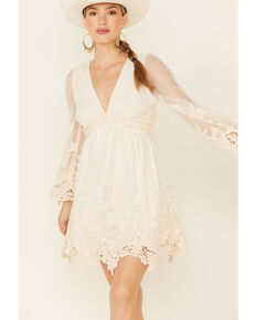 Flying Tomato Women's Ivory Lace Bell Sleeve Dress , Ivory, hi-res