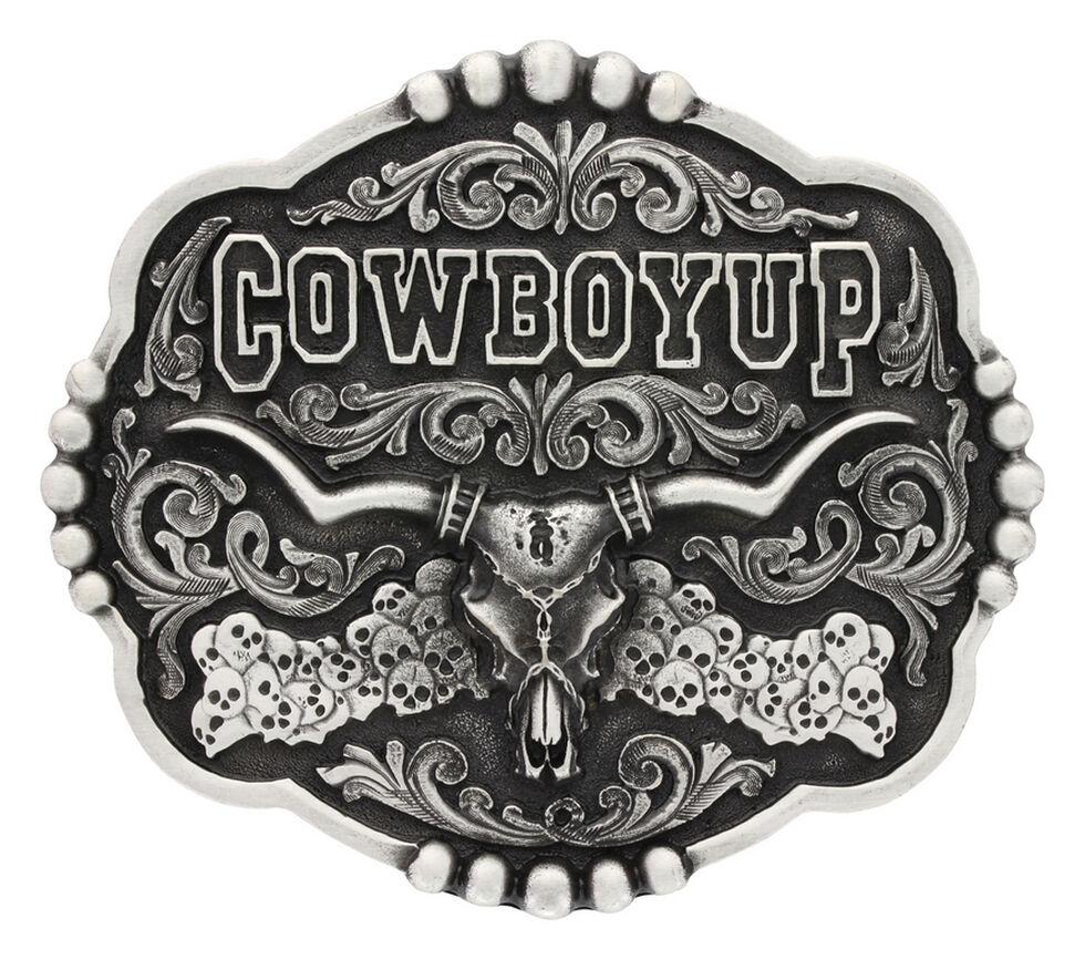 Montana Silversmiths Classic Impressions Cowboy Up Skulls Attitude Belt Buckle, Silver, hi-res
