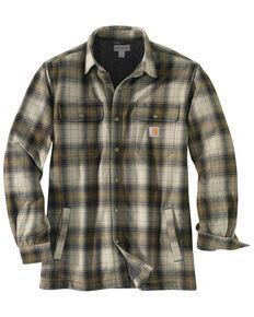 Carhartt Men's Hubbard Flannel Long Sleeve Work Shirt Jacket - Big , Olive, hi-res