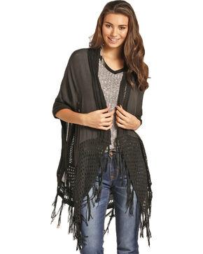 Rock & Roll Cowgirl Women's Black Crochet Back Duster , Black, hi-res