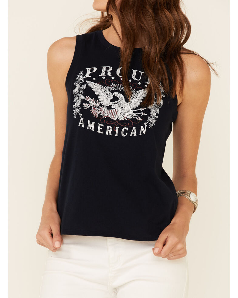 Shyanne Women's Proud American Graphic Crossover Back Tank Top , Navy, hi-res