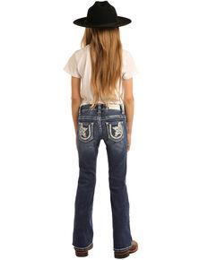 Rock & Roll Denim Girls' Star & Horseshoe Medium Bootcut Jeans, Blue, hi-res