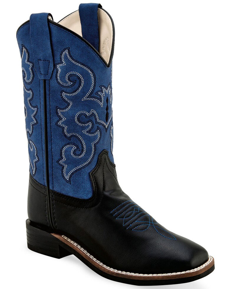 Old West Boys' Brown Western Boots - Wide Square Toe, , hi-res