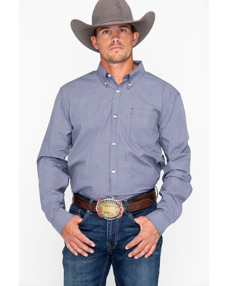 Cody James Core Men's Black Oil Slick Mini Check Long Sleeve Western Shirt, Black, hi-res