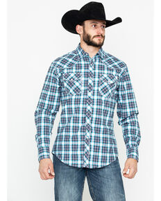 Wrangler 20X Men's Black Plaid Advanced Comfort Long Sleeve Western Shirt, Black, hi-res