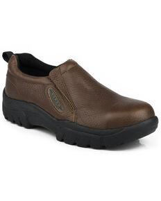 Roper Men's Slip-On Work Shoes - Steel Toe , Brown, hi-res