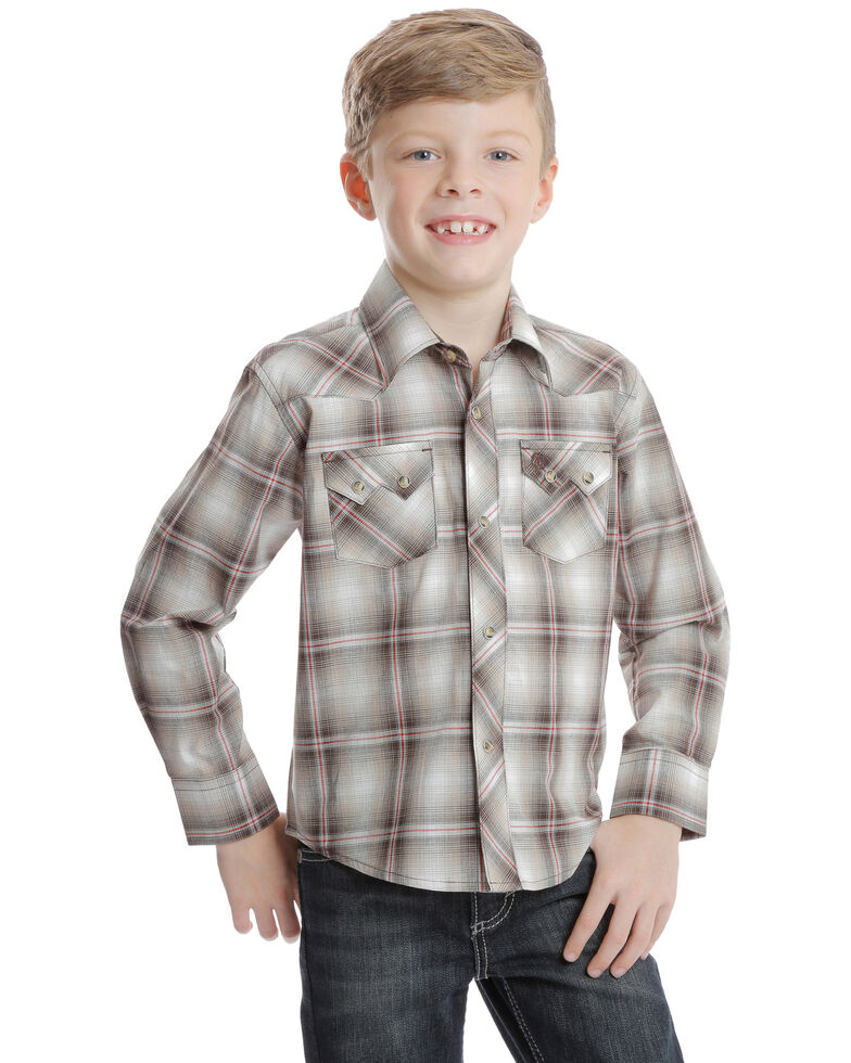 Wrangler Retro Boys' Brown Plaid Long Sleeve Western Shirt , Brown, hi-res