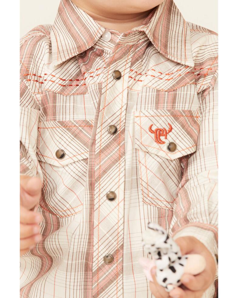 Cowboy Hardware Toddler Boys' Tan Plaid Long Sleeve Snap Western Shirt, Tan, hi-res