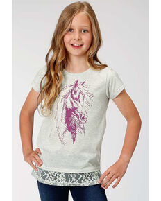 Five Star Girls' Grey Lace Trim Horse Graphic Tee, Grey, hi-res