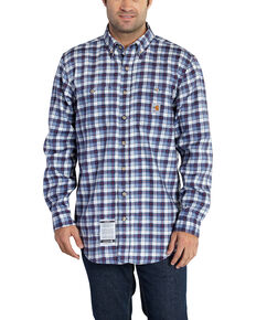 Carhartt Men's Flame Resistant Navy Classic Plaid Shirt - Big & Tall, Navy, hi-res