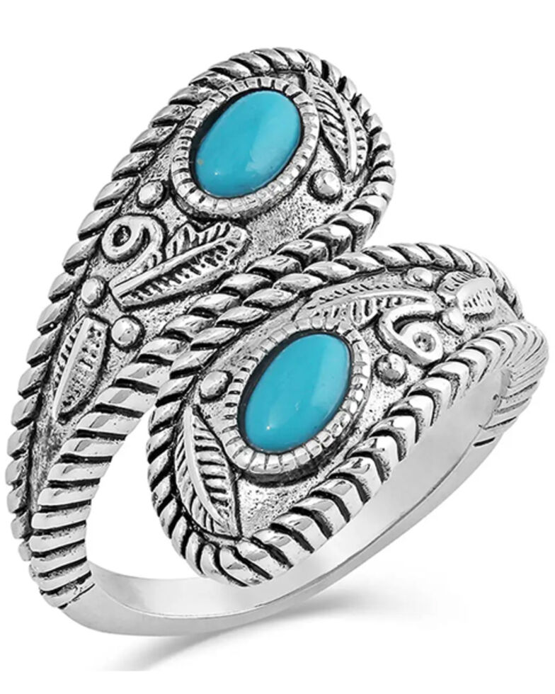 Montana Silversmiths Women's Balancing The Whole World Turquoise Open Ring, Silver, hi-res