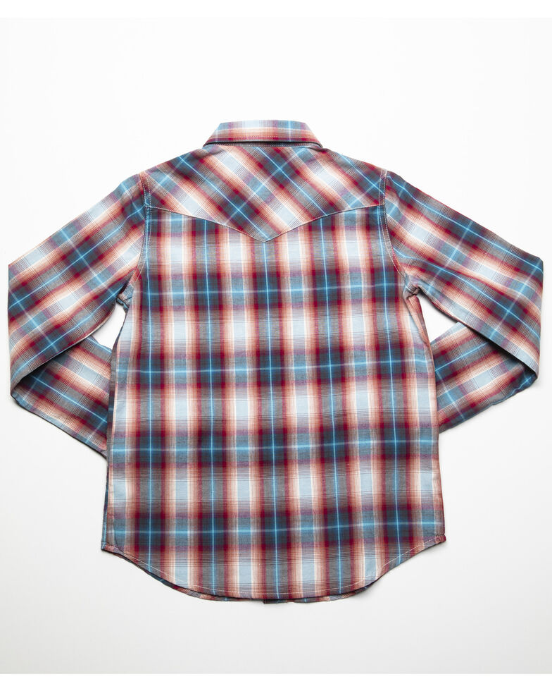 Roper Girls' Red Plaid Long Sleeve Western Shirt, Red, hi-res