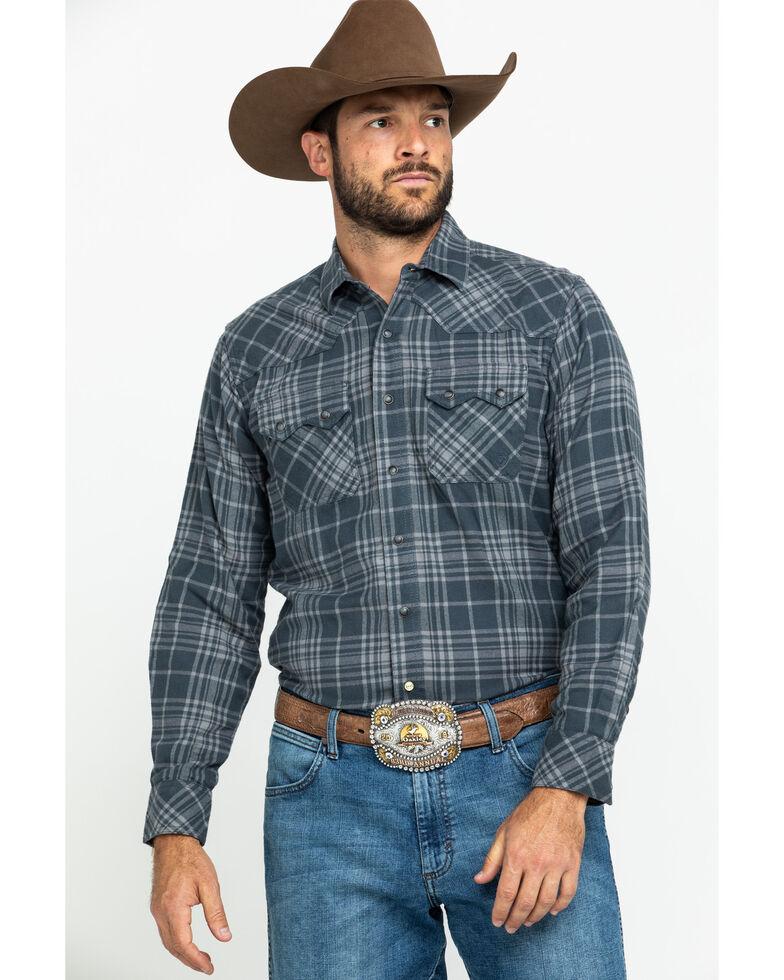 Ariat Men's Kemper Retro Plaid Snap Long Sleeve Western Flannel Shirt , Charcoal, hi-res