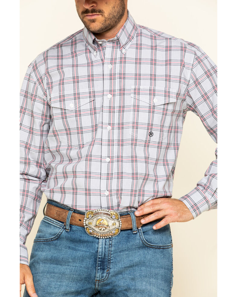 Roper Men's Amarillo Coal Creek Check Plaid Long Sleeve Western Shirt , Grey, hi-res