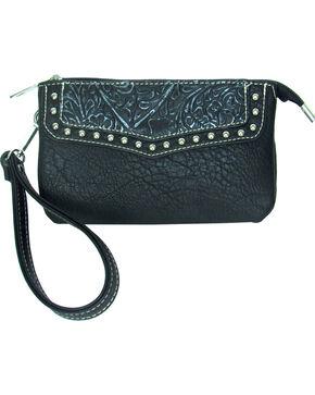 Savana Women's Faux Leather Clutch Zip Wristlet , Black, hi-res