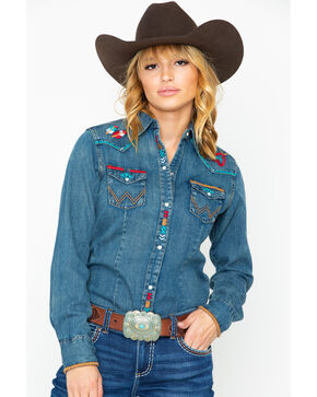 Wrangler Women's Denim Embroidered Long Sleeve Western Shirt , Indigo, hi-res