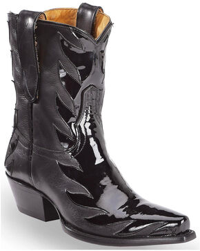 Liberty Black Women's Black Patent Kingdom Booties - Snip Toe, Black, hi-res