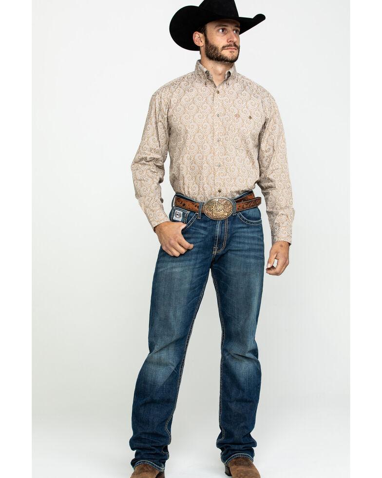 George Strait by Wrangler Men's Tan Large Paisley Print Long Sleeve Western Shirt - Big , Tan, hi-res