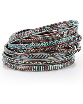 Shyanne Women's Bronze and Turquoise Bangle Set, Turquoise, hi-res