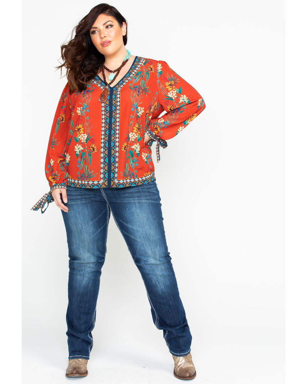 Flying Tomato Women's Floral V-Neck Banded Cuff Long Sleeve Blouse - Plus, Rust Copper, hi-res