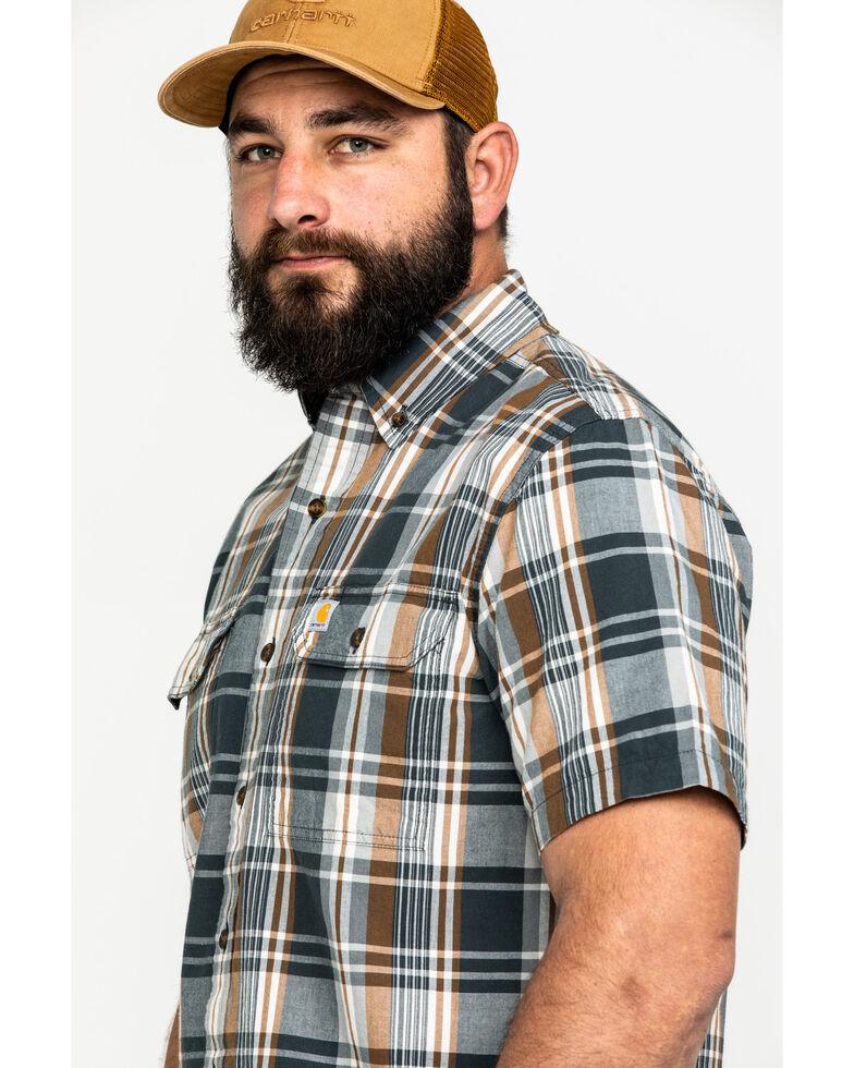 Carhartt Men's Fort Plaid Long-Sleeve Work Shirt - Tall , Dark Grey, hi-res