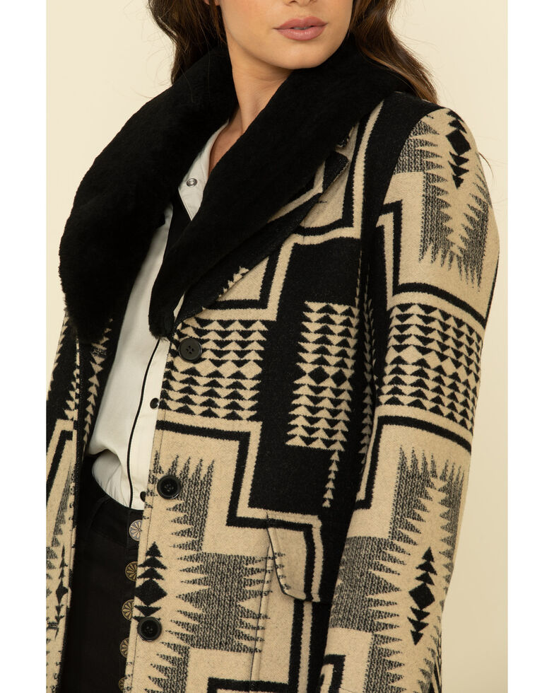 Pendleton Women's Wahkeena Shearling Collar Coat , Black, hi-res