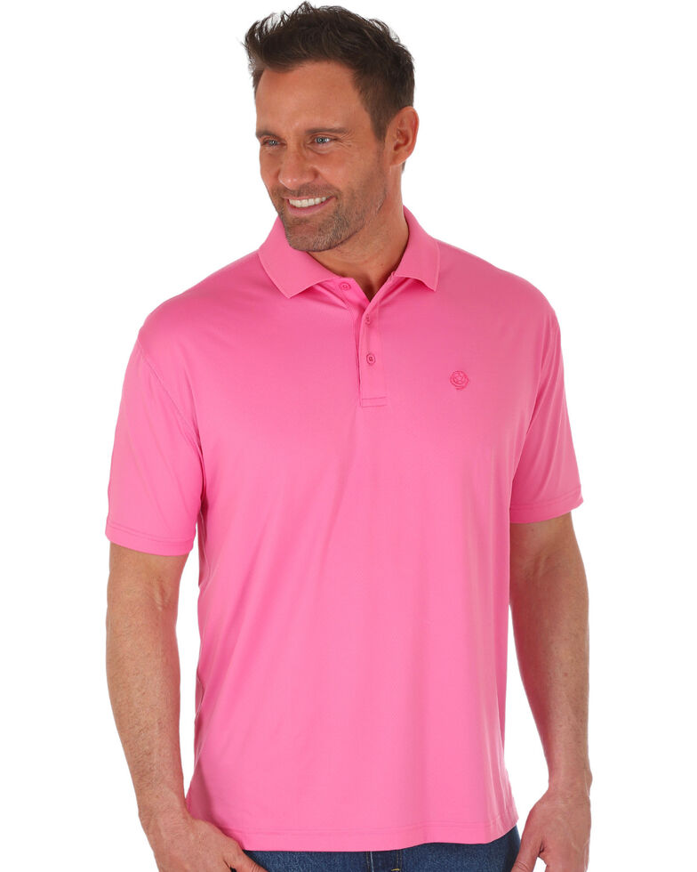 George Strait by Wrangler Men's Pink Performance Short Sleeve Polo Shirt , Pink, hi-res