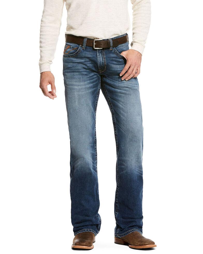 Ariat Men's Aspen Jett Wide Boot Cut Jeans, Blue, hi-res