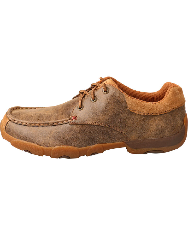 Twisted X Men's Smooth Leather Driving Mocs - Moc Toe, Brown, hi-res