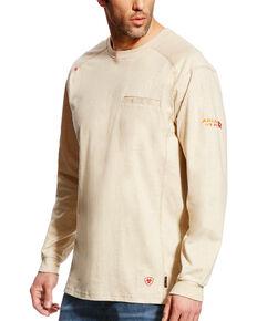 Ariat Men's FR Air Crew Long Sleeve Work Shirt - Tall, Sand, hi-res