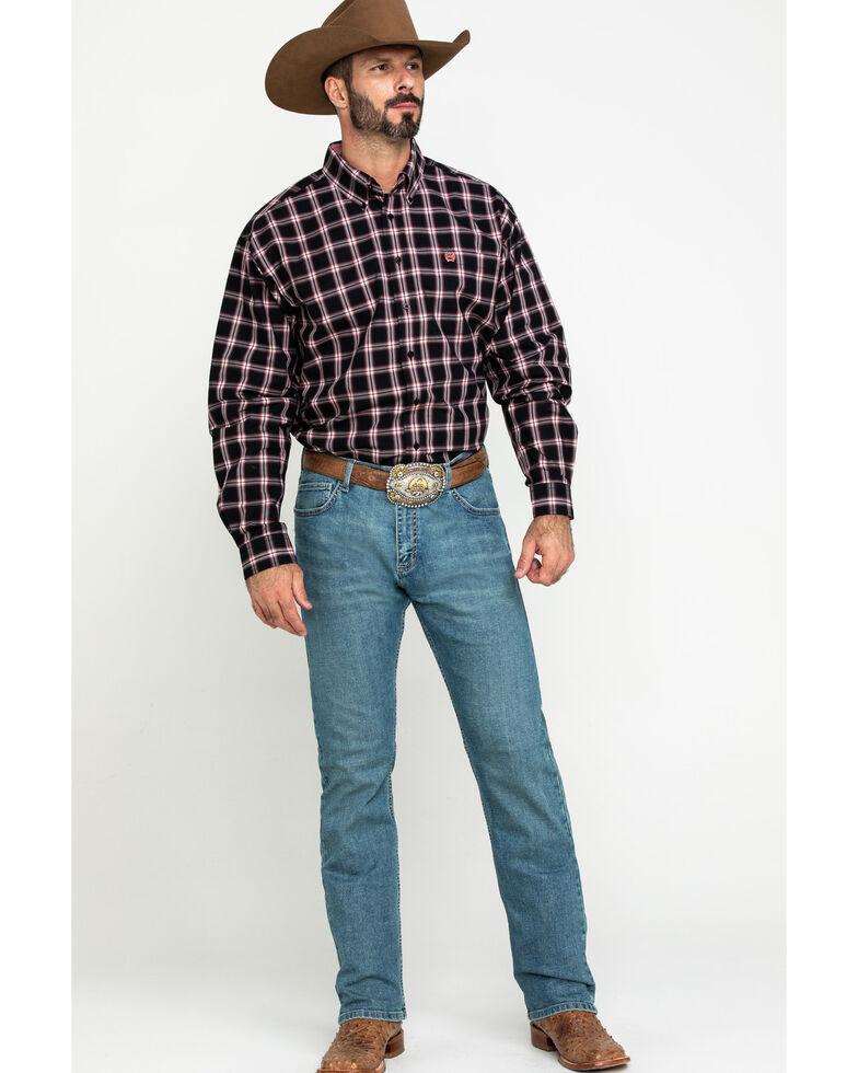Cinch Men's Black Large Plaid Long Sleeve Western Shirt , Black, hi-res