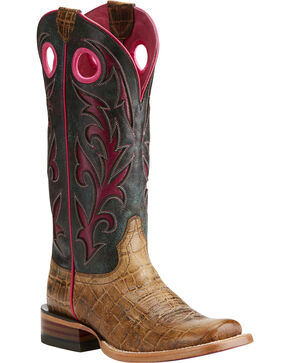 Ariat Women's Chute Out Tan Croc Print Cowgirl Boots - Square Toe, Tan, hi-res