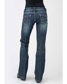 Stetson Women's 816 Dark Wash Deco Bootcut Jeans , Blue, hi-res