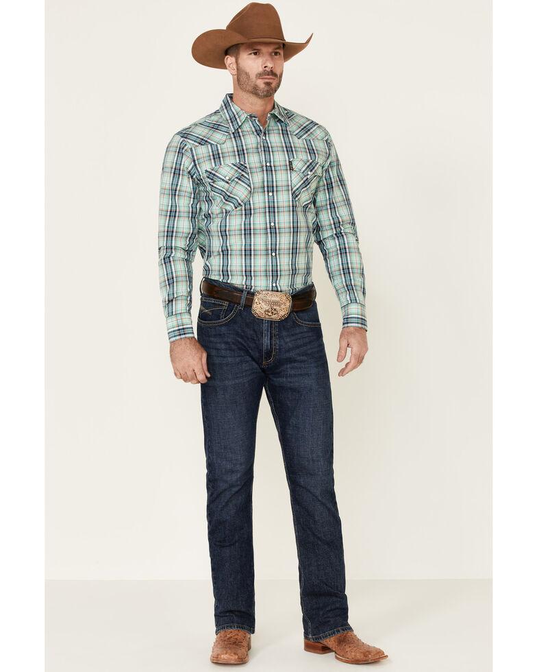 Cinch Men's Modern Fit Multi Med Plaid Long Sleeve Snap Western Shirt , Multi, hi-res