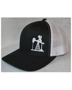 Oil Field Hats Men's Black & White PJ Cowboy Mesh-Back Trucker Cap , Black, hi-res