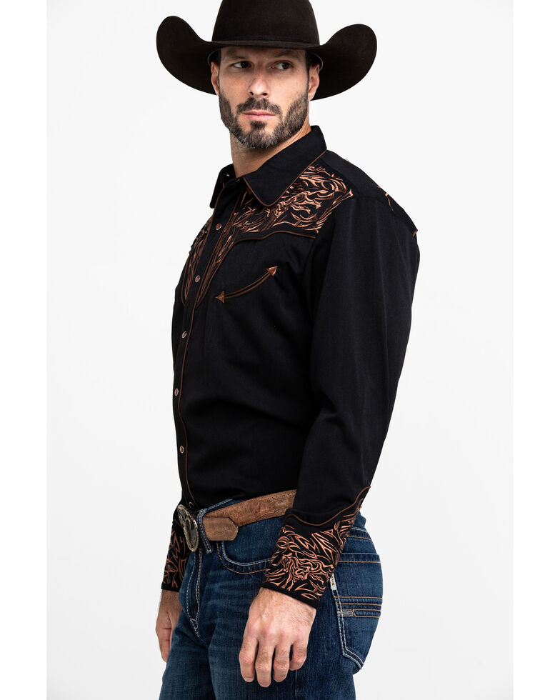 Scully Men's Steer Head Embroidered Long Sleeve Western Shirt , Brown, hi-res