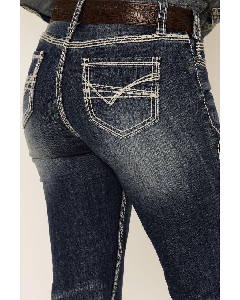 Panhandle Women's Dark Wash Stitched Pocket Bootcut Jeans , Blue, hi-res
