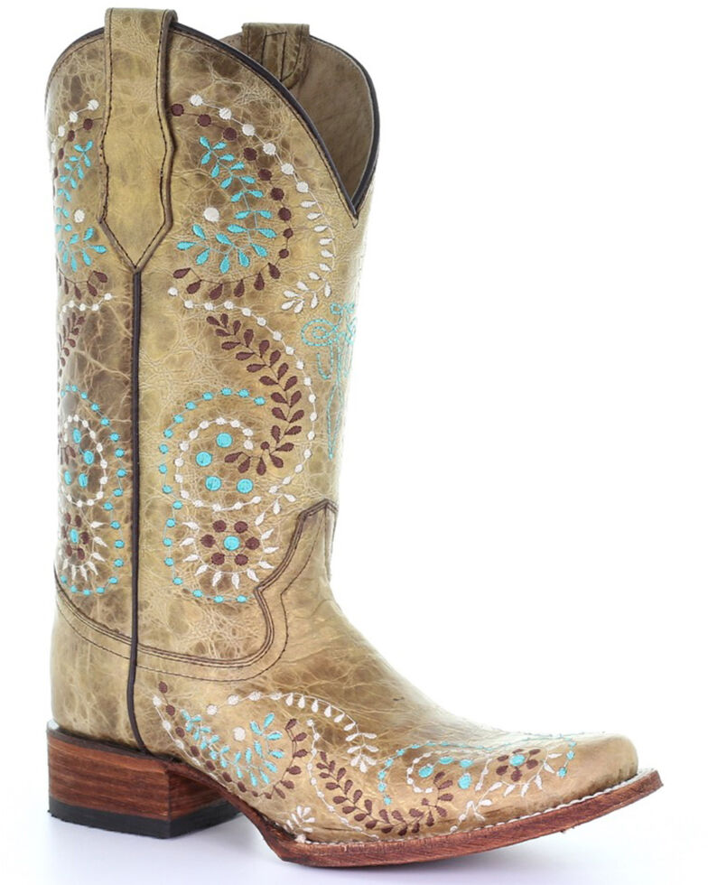 Circle G Women's Gold Embroidery Western Boots - Square Toe, Gold, hi-res