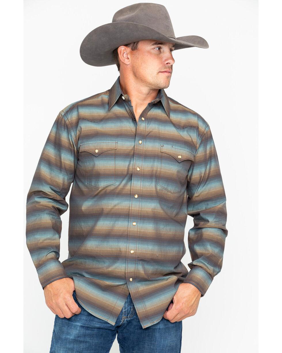 Panhandle Men's Rough Stock Long Sleeve Western Shirt, Mahogany, hi-res